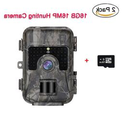 2 Pack 16MP 16GB Trail Scouting Hunting Game Camera 3MP CMOS