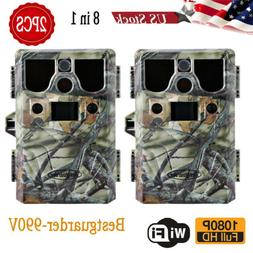2pcs Game & Trail Hunting Camera 8 in 1 Multi Function 12MP