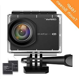 "Campark Action Camera 4K 2.26"" LCD Touchscreen 16MP WiFi Wat"