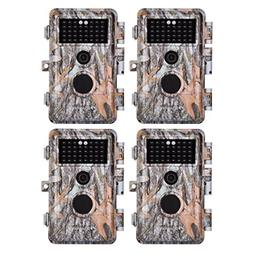 BlazeVideo 4-Pack 16MP 1080P Game Trail Cameras for Hunting