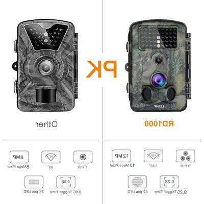 12MP Trail Camera Deer Bear Game Cam Low Glow Night Motion