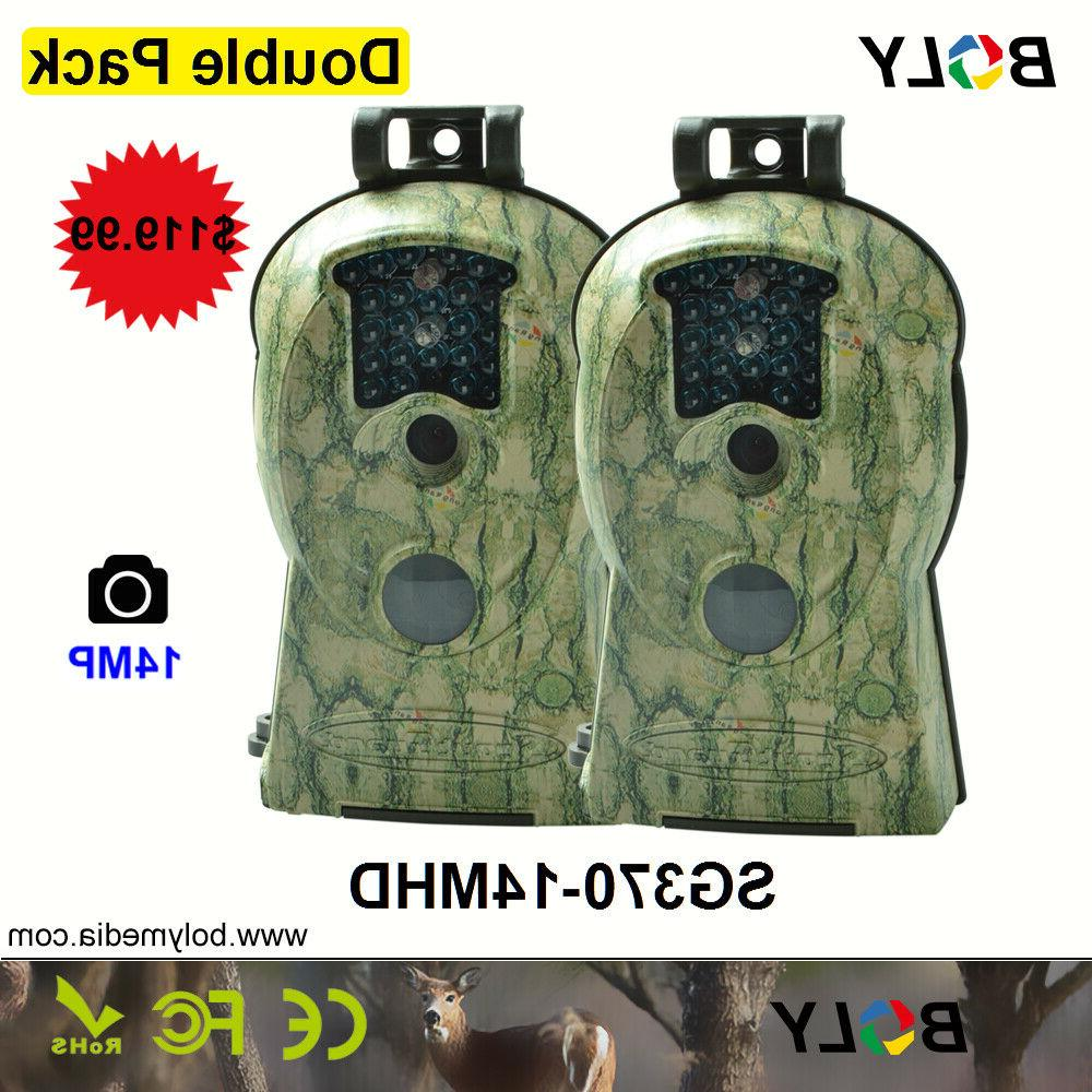 2pcs trail game camera 14mp fhd 1080p