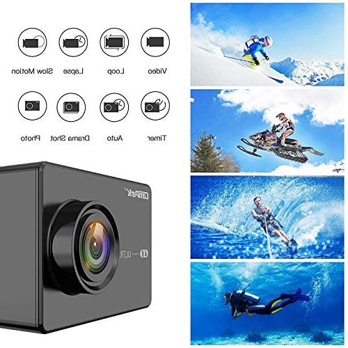 """Campark Action Camera 2.26"""" Touchscreen WiFi Cam 98ft Rechargeable 1050mAh Batteries Mounting Accessory Kits"""