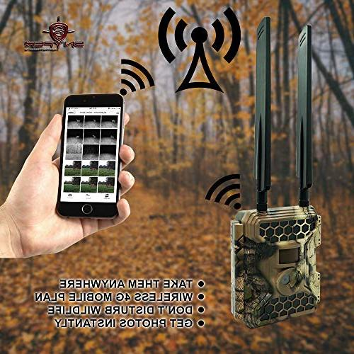 New Snyper 4G LTE 1080P / 12MP Trail Camera LCD Screen Card Cellular Trail Camera/Security   56 IR