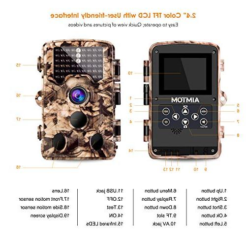 "AIMTOM 21MP Game Camera 0.2S 2.4"" LCD Screen 65 IR LED Range Trail Scouting Stealth Observation Monitor"