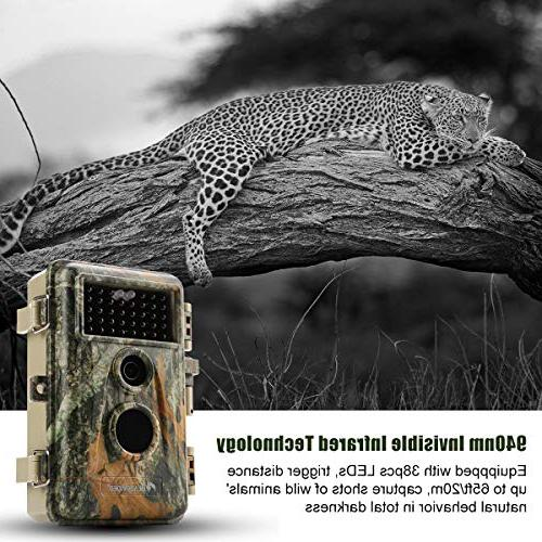BlazeVideo Glow Infrared Trail Game Cameras 16MP Tracking 65Ft Night Cameras Activated Password & IP66 Waterproof