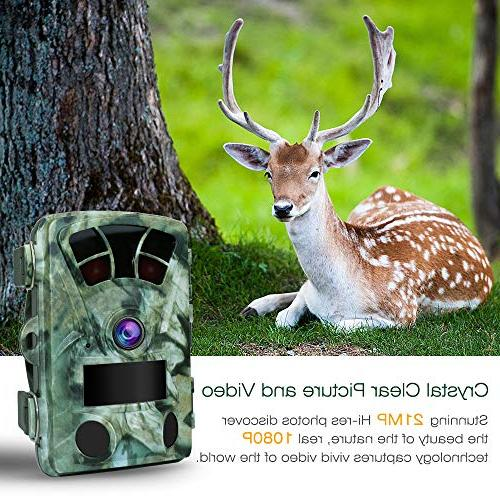 21MP 1080P Hunting Trail Camera Fast Wide Angle Flash Range Stealthy Cam Super Power IR Night Spray Protection