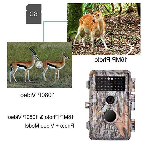 """BlazeVideo Trail Deer Cameras 16MP 1080P Hunting Night Vision IP66 F2.0 Lens 0.6S Trigger No Infrared 2.4"""" LCD Password"""