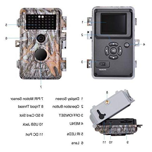 """BlazeVideo 2-Pack Game Trail Deer Cameras Hunting Vision Activated Waterproof IP66 F2.0 Trigger No 2.4"""" LCD"""