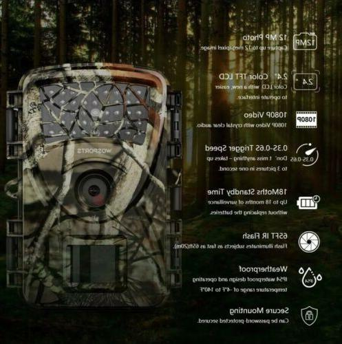 WOSPORTS Trail Camera/Video 32GB,Waterproof, Infrared