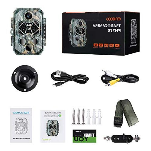 ENKEEO 20MP HD Cam Hunting with 940nm IR LEDs Water Resistant, 0.2s Time,