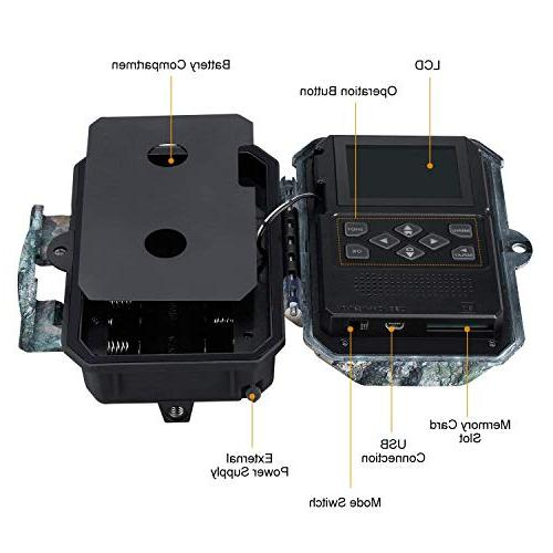 """ENKEEO 20MP Cam with IR LEDs Vision, Water Time, 2.4"""""""
