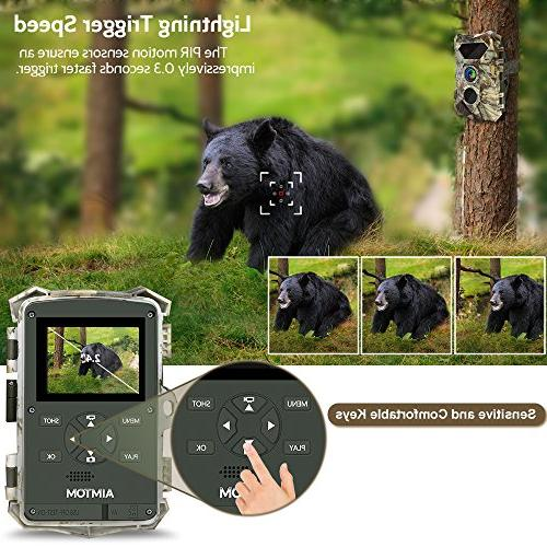 AIMTOM Trail Cameras, Hunting Cam, 2.4'' 2Pcs Glow IR Night 0.3S Faster Trigger Outdoor Home