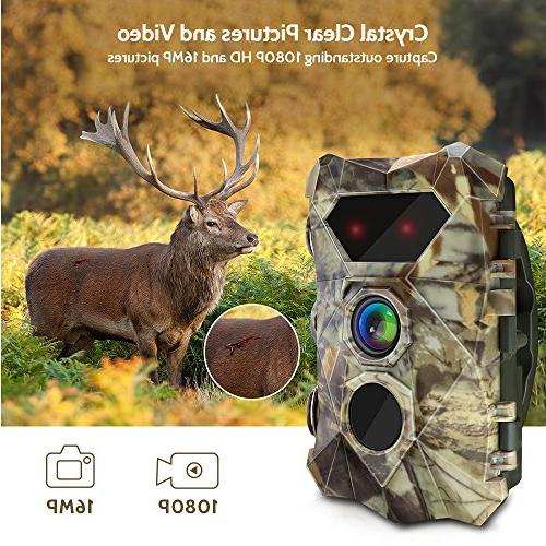 AIMTOM T903 Trail Cameras, 16MP 1080P Hunting 2Pcs No IR Night Vision, Faster Trigger for Outdoor Hunting, Monitoring, Home Security