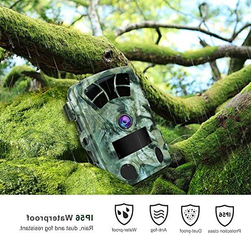 AIMTOM Camera With Card, 16MP 1080P Inch Waterproof Wildlife Cam No Glow IR LEDs 130° Angle Fast