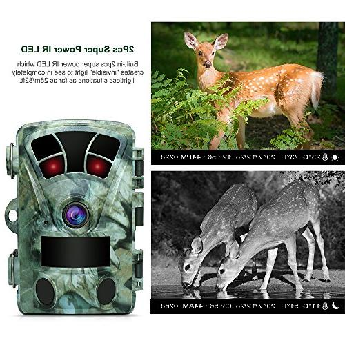 AIMTOM T905 Hunting Camera Card, 16MP 1080P Inch Screen Stealthy No IR LEDs 130° Wide 82Ft Vision