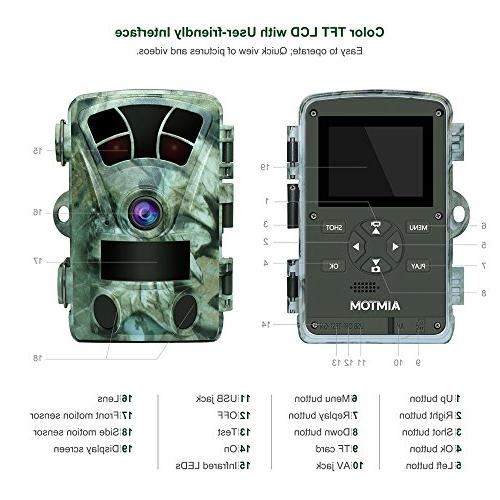 AIMTOM Hunting Camera With Card, 1080P 2.4 Inch Screen Wildlife Game No Super Power IR Wide Angle 82Ft