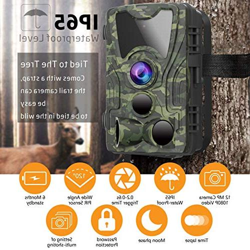 FHDCAM Trail Camera, Hunting Cam Activated, Vision, 120° Wide Lens, IP65 Waterproof Camera New