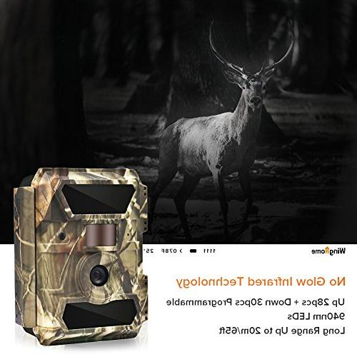 WingHome Trail Camera, 12M Night Wildlife Night Vision No Wildlife Camera Waterproof Hunting for Home Backyard Wildlife