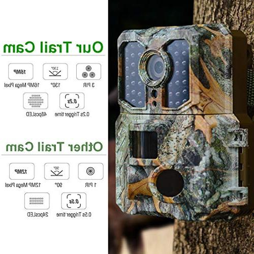 "Kuool K3 Trail Camera with Vision Activated 48pcs 850NM IR Game Cam,3 0.2s Sensor Angle 2.0"" LCD Display IP65"