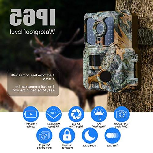 "with Night Activated 48pcs LEDs,1080P Game Cam,3 Sensor Angle 2.0"" Display IP65"