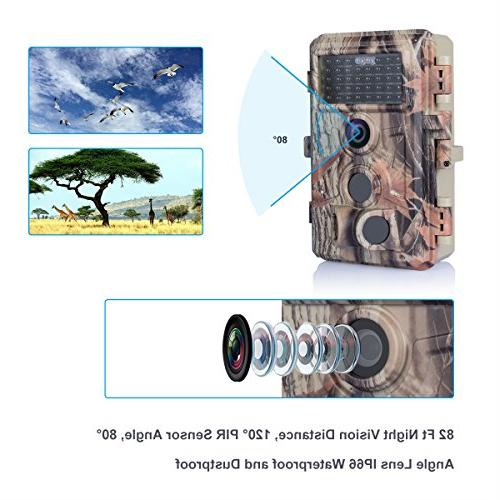 BlazeVideo 16MP No Trail Camera IP66 Waterproof 2-PIR Activated 65ft Night & Video