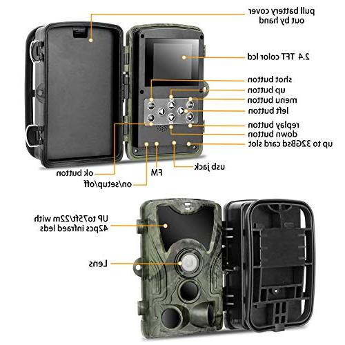 "Trail Camera 2.4"" LCD Hunting Camera with 42pcs IR Vision up to 75ft/23m IP65 Waterproof for Animal Scouting Digital"