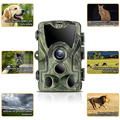 "Trail 1080P 2.4"" LCD & Hunting Camera with 42pcs IR LEDs Vision IP65 Waterproof for Animal Digital"