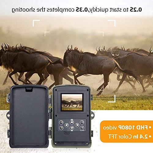 Trail 16MP 1080P Waterproof Cam Wildlife with 120°Detecting Activated Night Vision LCD IR