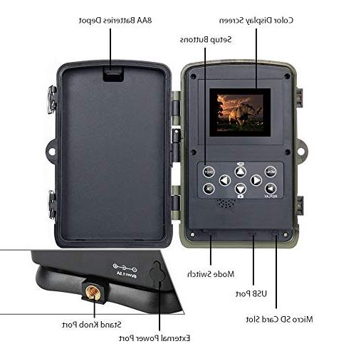 Trail Game Camera 16MP 1080P Waterproof Cam for with 120°Detecting Range Activated Night Vision LCD IR LEDs