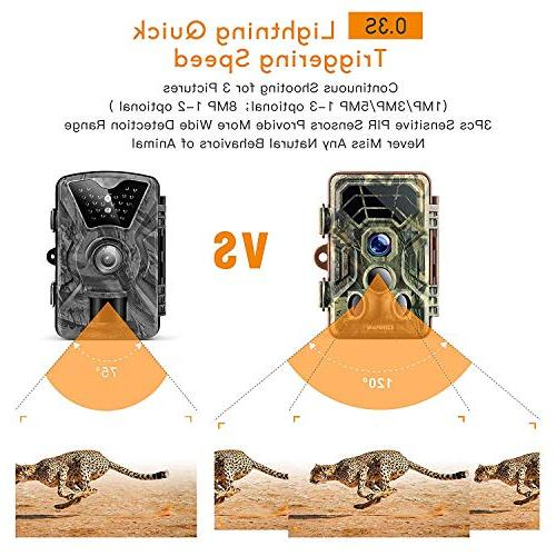 Campark HD Waterproof Wildlife Deer Hunting Cams Detecting Range Motion Activated Vision for Field Home