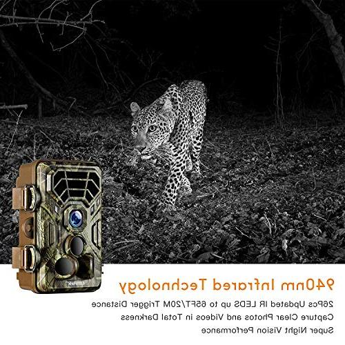 Campark Trail Game Cameras HD Wildlife Deer Hunting 120° Detecting Range Motion Activated Night Vision Infrared for Field Nature Home