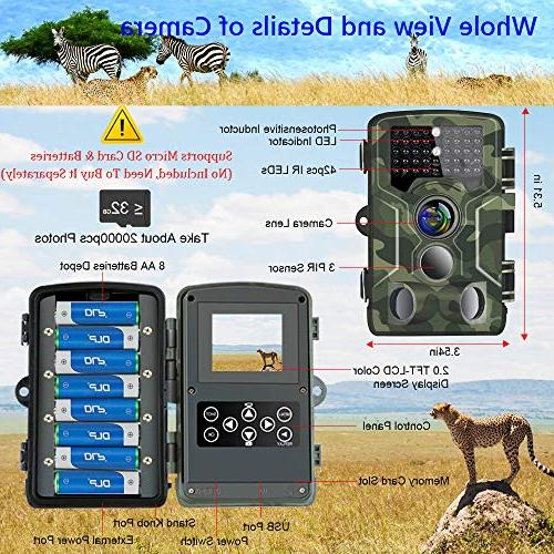 Binrrio Trail 1080P 16MP 120°Wide Angle 65ft 850nm Activated Waterproof Wildlife for Home Security