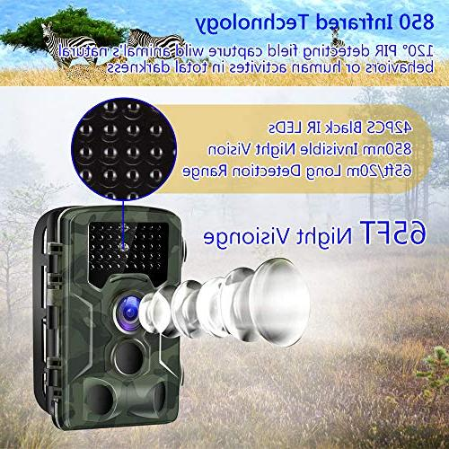 Binrrio Camera, 16MP 120°Wide Angle 850nm Motion Activated Waterproof Wildlife Home Security