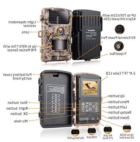 Campark Trail Camera 1080P Hunting Color LCD Scouting Surveillance Cameras with Vision IR IP56 Waterproof