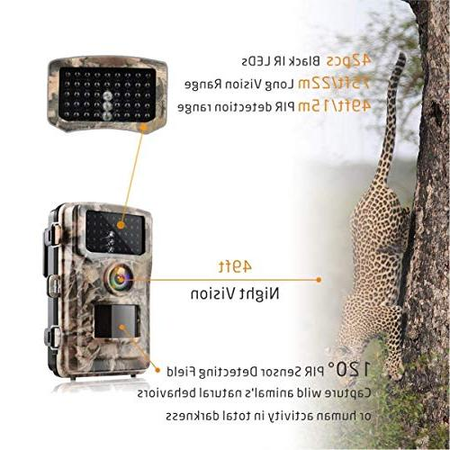 Campark Trail Hunting Cam 14MP Color Game Scouting Digital with Infrared Vision IR IP56 Waterproof