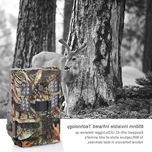 Wosports Trail Camera 16MP 1080P Game Camera, Wildlife 850nm Vision 65ft, 2.0''LCD for Home Security Wildlife Monitoring/Hunting