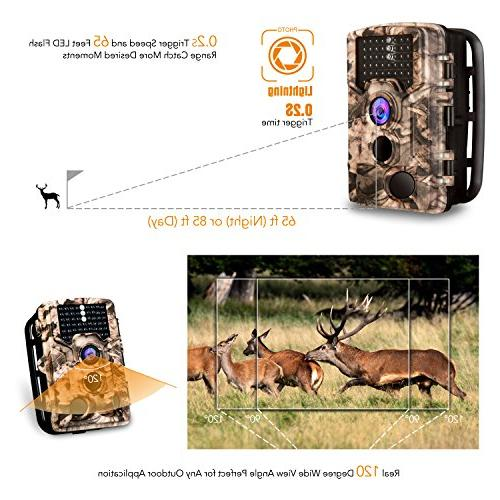 "AIMTOM Trail Camera 16MP Image 1080P 46Pcs 0.2S Trigger Waterproof Night Vision Angle 2.4"" LCD Screen Scouting Ghost Game Wildlife Trap"