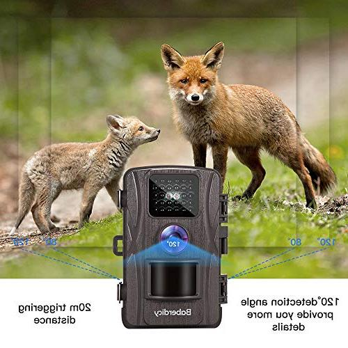 Baberdicy Trail Camera, 12MP Motion Activated Night Game Angle, 0.2s 65ft