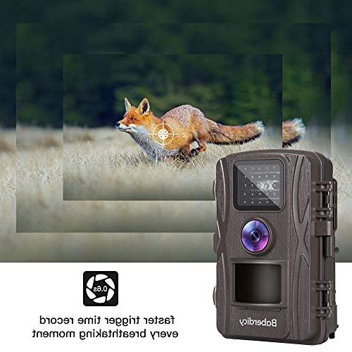Baberdicy Trail Camera, 1080P 12MP Motion Activated Game Angle, 0.2s Trigger Time, 65ft