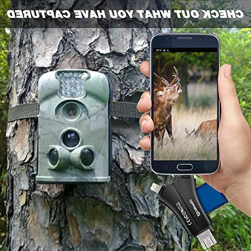 MOSPRO Trail Camera for iPhone iPad & Micro SD Memory Reader to View and Wildlife on Smartphone Hunter Black