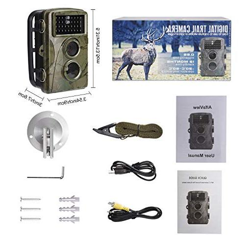 """AlfaView Trail 12MP 1080P Wildlife Camera Motion Activated Vision Cam 2.4"""" LCD Waterproof Design Hunting Home"""