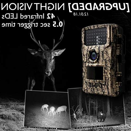 "Foxelli Trail 14MP Wildlife Camera with Activated Vision, Lens, and 2.4"" LCD Screen, IP66 Waterproof"