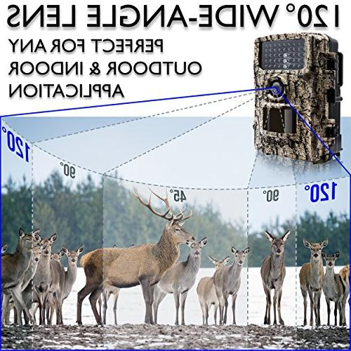 "Foxelli Trail Camera 14MP HD Wildlife Scouting Vision, 120° Lens, and 2.4"" IP66 Waterproof Camera"