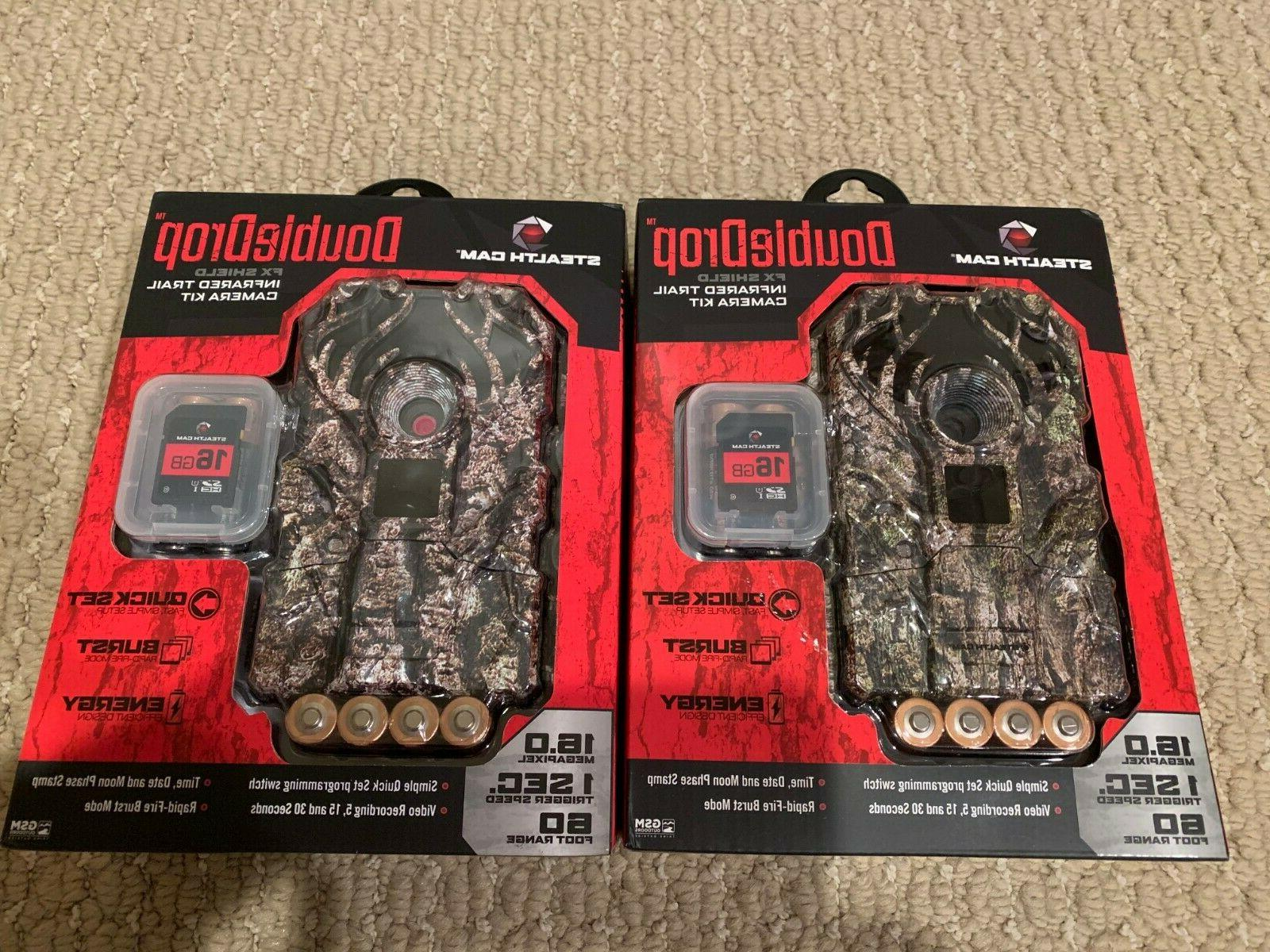 two doubledrop 16mp trail camera batteries sd