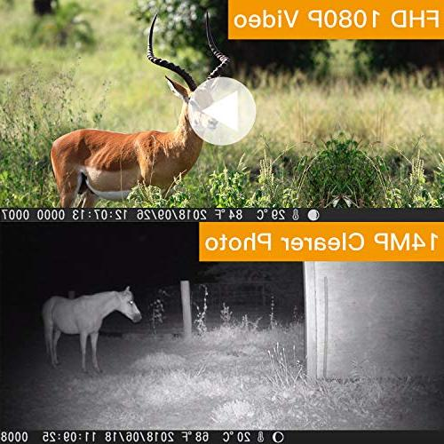 """TOGUARD Trail Camera 14MP 1080P with 2.4"""" Night Design for and Home Security"""