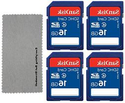 4 Pack SanDisk 16GB Class 4 SDHC Flash Memory Card Retail wo
