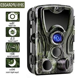 Trail Camera, 1080P 16MP Game Camera with 120°Wide Angle 80