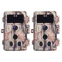 BlazeVideo 2-Pack 16MP 1080P Trail Game Cameras with Night V