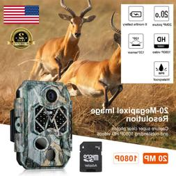 Trail Game Camera 20MP FHD 1080P Waterproof IR Hunting Scout